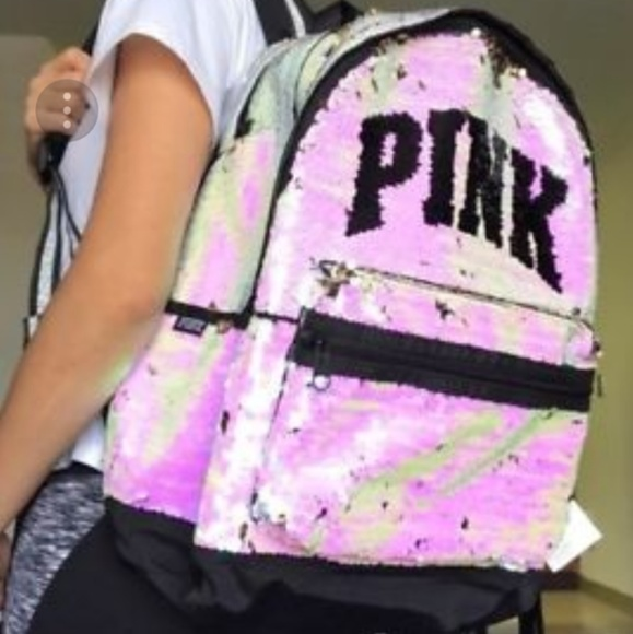 NWT! Victorias Secret PINK REVERSIBLE  SEQUIN BLING Full Size CAMPUS BACKPACK